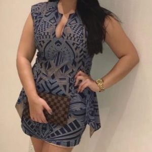 BCBG blue and nude dress short with v cut
